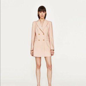 Light Pink Tuxedo Dress Gold Buttons Size XS New
